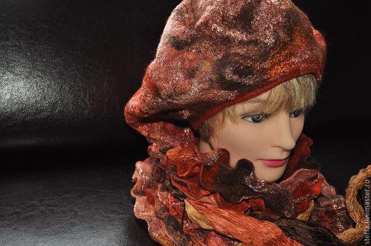 Береты ручной работы. Ярмарка Мастеров - ручная работа. Купить Берет и шарфик-горжетка Осень. Handmade. Оранжевый, Валяние