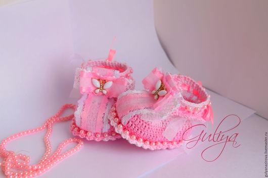 """Для новорожденных, ручной работы. Ярмарка Мастеров - ручная работа. Купить Пинетки """"Бабочки """". Handmade. Розовый, пинетки для новорожденных"""