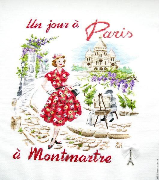 """Люди, ручной работы. Ярмарка Мастеров - ручная работа. Купить Вышитая картина """"Один день в Париже. Монмартр"""". Handmade. парижанка"""