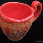 Посуда ручной работы. Ярмарка Мастеров - ручная работа Чашка керамическая ручной лепки Красное Солнце. Handmade.