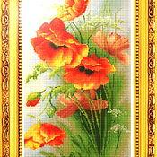 """Patterns for embroidery handmade. Livemaster - original item Схема для вышивки бисером """"Маки М002"""" с полной зашивкой бисером. Handmade."""