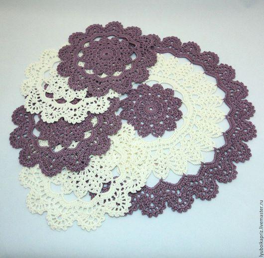 Текстиль, ковры ручной работы. Ярмарка Мастеров - ручная работа. Купить Комплект вязаных салфеток под чашки и чайник. Handmade.