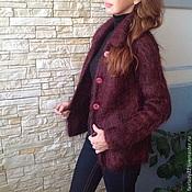 Одежда ручной работы. Ярмарка Мастеров - ручная работа Кардиган 100% мохер Бордовый с черным меланжем. Handmade.