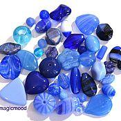 Материалы для творчества ручной работы. Ярмарка Мастеров - ручная работа Бусины чешские 20 гр Микс Blue синий стеклянные бусины Preciosa. Handmade.