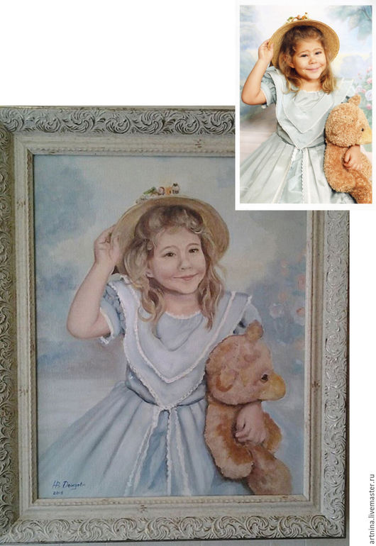 Портрет на заказ : Портрет девочки  с мишкой. Масло, холст 40х50, Москва 2015