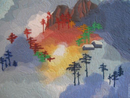 """Пейзаж ручной работы. Ярмарка Мастеров - ручная работа. Купить Квилт """"Голубой туман"""". Handmade. Голубой, сосны, синтепон"""