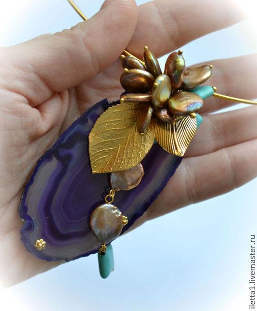 """Колье, бусы ручной работы. Ярмарка Мастеров - ручная работа. Купить Колье """"Золотая астра1"""" позолота16К (Агат,жемчуг,бирюза). Handmade."""
