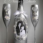 """Свадебный салон ручной работы. Ярмарка Мастеров - ручная работа Свадебные бокалы и бутылка. Свадебный комплект """"Ты и Я"""". Handmade."""