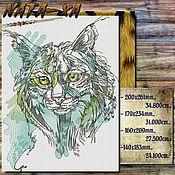 Материалы для творчества handmade. Livemaster - original item Lynx. Design for machine embroidery.. Handmade.