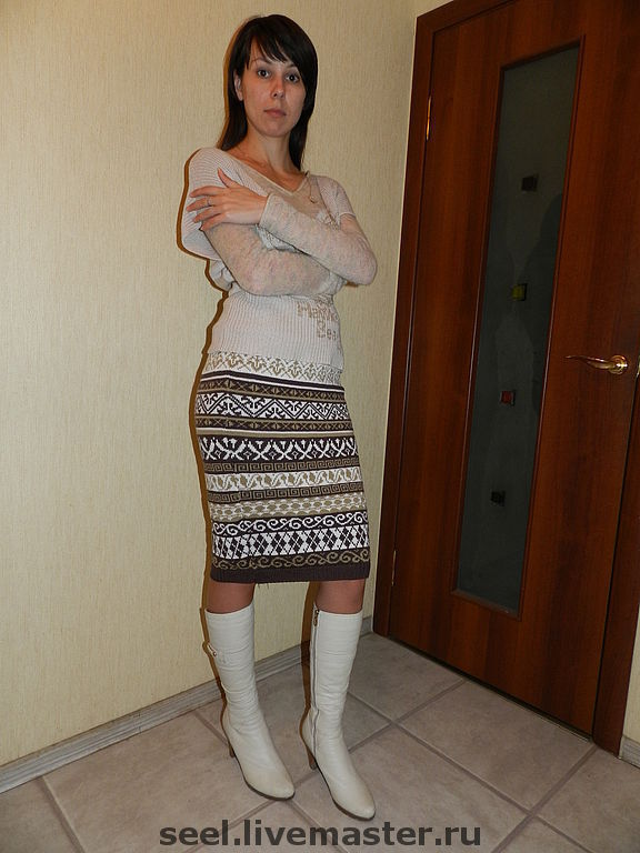 Вязаная юбка жаккардовый узор