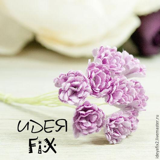 Длина бутона - 1 см. Длина проволочного стебелька - 5,5 см. Цена указана за букет из 10 цветочков.