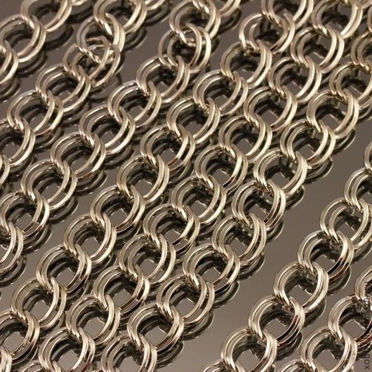 Цепь с двойными звеньями с покрытием цвета под серебро для использования в качестве основы в сборке украшений для колье и как основа для браслетов