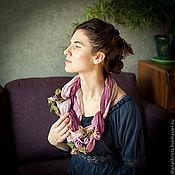 """Украшения ручной работы. Ярмарка Мастеров - ручная работа Колье из нат. кожи """" Розовая нежность """". Handmade."""