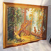 """Картины и панно ручной работы. Ярмарка Мастеров - ручная работа """"Утро в сосновом лесу"""" вышитая картина. Handmade."""