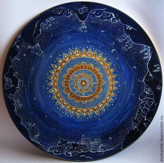 Символизм ручной работы. Ярмарка Мастеров - ручная работа. Купить Картина Лунный свет. Handmade. Тёмно-синий, своё место