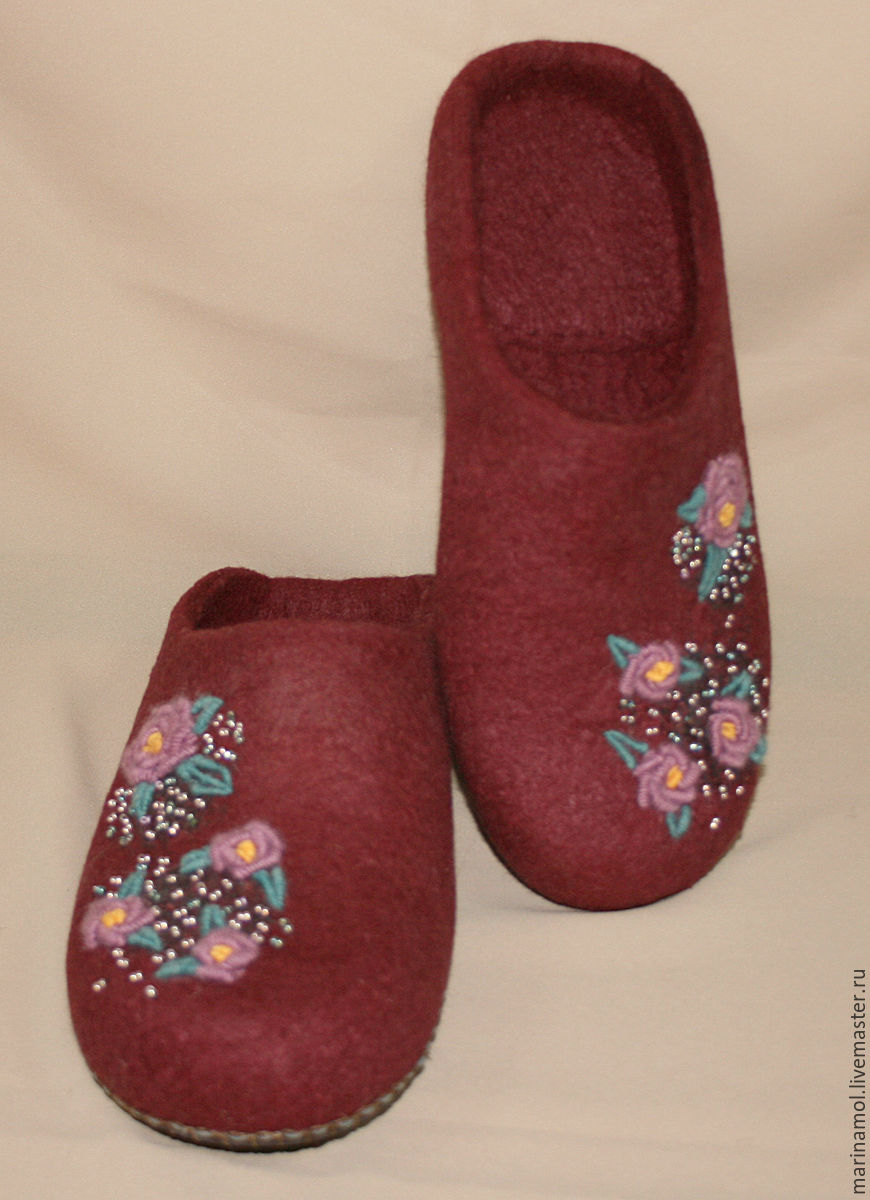 Women's felted Slippers 'embroidery!, Slippers, Miass,  Фото №1