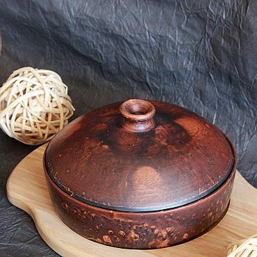Посуда ручной работы. Ярмарка Мастеров - ручная работа Грузинская кеци с крышкой.Глиняная сковорода для запекания. Handmade.