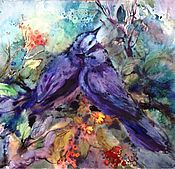 Картины и панно ручной работы. Ярмарка Мастеров - ручная работа Акварель Две Синие Птицы. Handmade.
