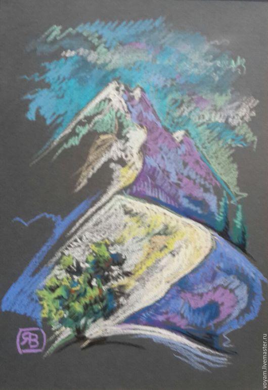 Пейзаж ручной работы. Ярмарка Мастеров - ручная работа. Купить пастель горы далекие. Handmade. Горы, для подарка, пастель сухая