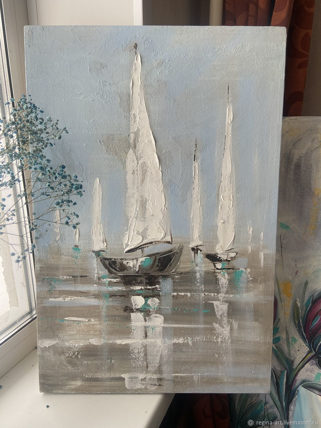 Painting with Sailboats texture paste, Pictures, Kemerovo,  Фото №1