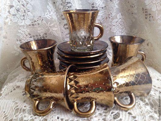 ...набор из шести, абсолютно новых, кофейных пар, производства Уршельского стекольного завода, 70-е годы СССР!!!