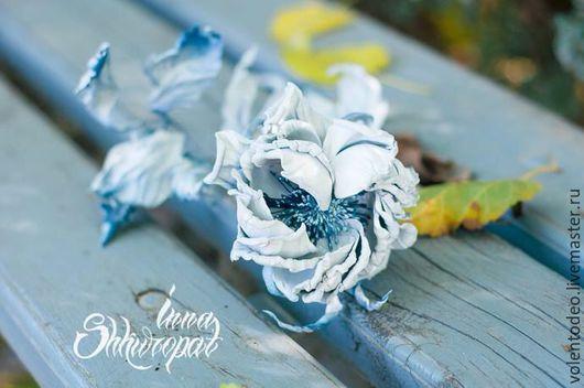 """Броши ручной работы. Ярмарка Мастеров - ручная работа. Купить Украшение из кожи """"Холодное сердце"""". Handmade. Роза из кожи"""