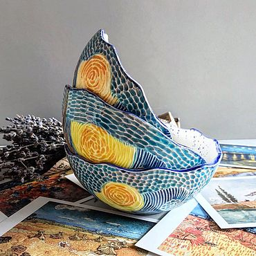 Посуда ручной работы. Ярмарка Мастеров - ручная работа Пиалы Ван Гог. Handmade.