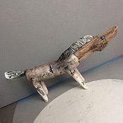 Куклы и игрушки ручной работы. Ярмарка Мастеров - ручная работа Маленькая керамическая  лошадка с деревянной головой. Handmade.