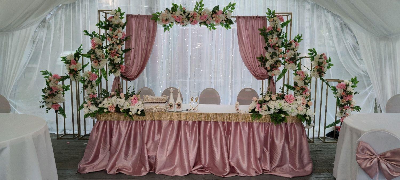Свадебное оформление в пудровом  цвете, Оформление зала, Москва,  Фото №1