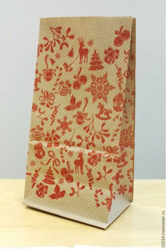 """Упаковка ручной работы. Ярмарка Мастеров - ручная работа. Купить Пакетик  крафт """"Новогодний"""". Handmade. Комбинированный, упаковка, упаковка для подарка"""