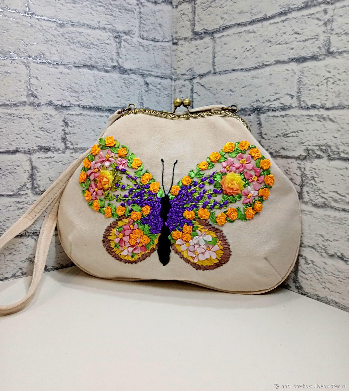 Bag handmade velour floral butterfly, Classic Bag, Tikhoretsk,  Фото №1