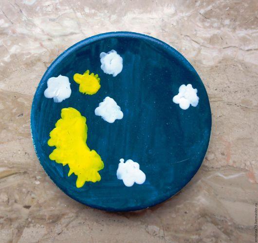 Декоративная посуда ручной работы. Ярмарка Мастеров - ручная работа. Купить Тарелочка Небо. Handmade. Тёмно-синий, Керамика