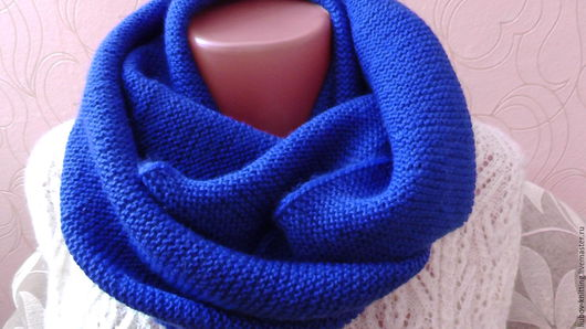 Шарфы и шарфики ручной работы. Ярмарка Мастеров - ручная работа. Купить Шарф-снуд. Handmade. Тёмно-синий, шарф-снуд