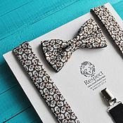 """Аксессуары handmade. Livemaster - original item Коричневая галстук бабочка """"с огурцами"""" + Подтяжки коричневые Пейсли. Handmade."""