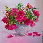 Картины и панно ручной работы. Ярмарка Мастеров - ручная работа Цветущий сад. Розы и ромашки. Handmade.