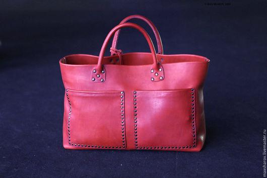 Женские сумки ручной работы. Ярмарка Мастеров - ручная работа. Купить Кожаная сумка ручной работы, красная, модель № 097 SV. Handmade.