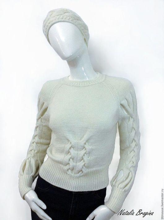 """Кофты и свитера ручной работы. Ярмарка Мастеров - ручная работа. Купить Джемпер """"Метелица"""". Handmade. Белый, зима, стильный комплект"""