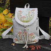 """Рюкзаки ручной работы. Ярмарка Мастеров - ручная работа Льняной рюкзак """"Осенние травы"""". Handmade."""