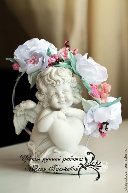 Диадемы, обручи ручной работы. Ярмарка Мастеров - ручная работа. Купить Ободок  с цветами. Handmade. Бледно-розовый, украшение, цветы