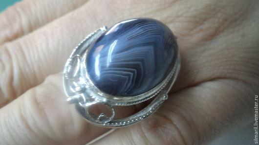 кольцо `Голубой туман` цена 1500 натуральный агат Тиман, Серебренников