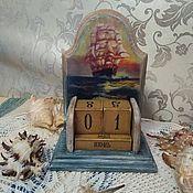 """Календари ручной работы. Ярмарка Мастеров - ручная работа Вечный календарь """"Белеет парус одинокий..."""". Handmade."""