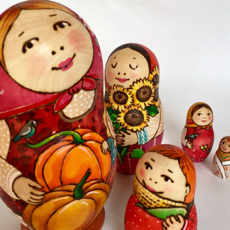 """Матрешка 5-местная """"Тыквенная"""", развивающая игрушка, Матрешки, Сергиев Посад,  Фото №1"""