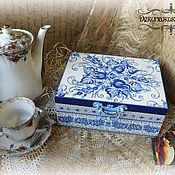 """Для дома и интерьера ручной работы. Ярмарка Мастеров - ручная работа Шкатулка для чая """"Гжель"""". Handmade."""