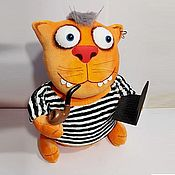 Stuffed Toys handmade. Livemaster - original item Soft toy plush red cat thick Sailor in a vest. Handmade.