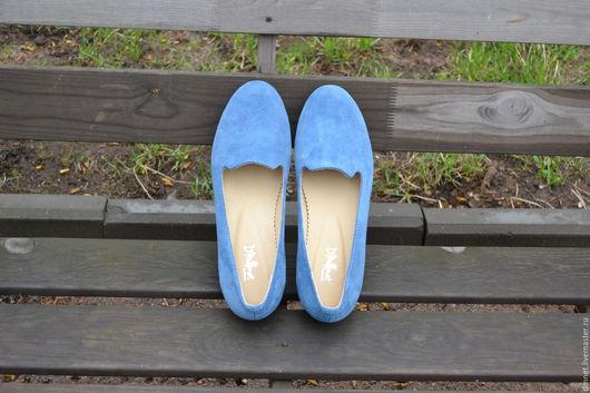 Обувь ручной работы. Ярмарка Мастеров - ручная работа. Купить Лоферы женские светло-синие. Handmade. Синий, натуральная кожа