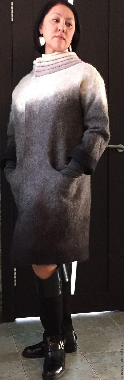 Верхняя одежда ручной работы. Ярмарка Мастеров - ручная работа. Купить пальто Монохром. Handmade. Чёрно-белый, альпака 100%