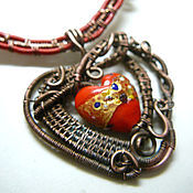 "Necklace handmade. Livemaster - original item Колье ""Венецианский бархат"", медь, стекло лэмпворк, кожа.. Handmade."