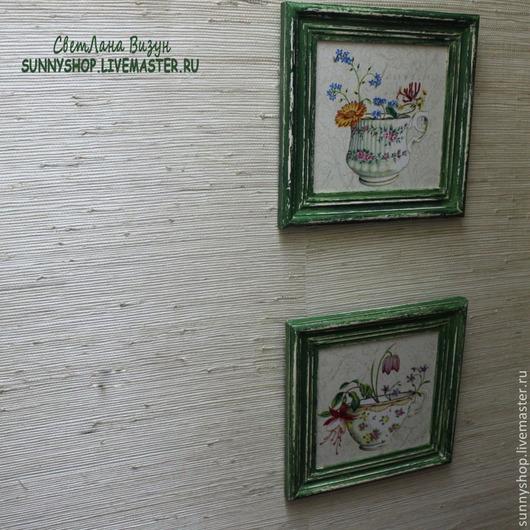 """Картины цветов ручной работы. Ярмарка Мастеров - ручная работа. Купить Панно картина в раме на кухню """"Цветы в чашке"""" (декупаж). Handmade."""