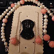 Украшения ручной работы. Ярмарка Мастеров - ручная работа серьги-протяжки из серебра 925пр.с резным розовым кораллом. Handmade.