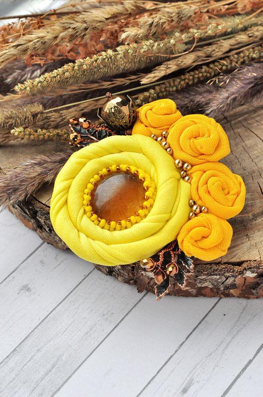"""Броши ручной работы. Ярмарка Мастеров - ручная работа. Купить Брошь """"Яркое солнце"""". Handmade. Желтый, брошь цветок"""